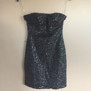 Daisy black sequin& shimmer strapless dress